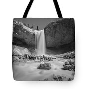 Mossy Cave Waterfall Bw Tote Bag