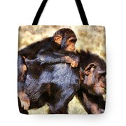 Mother Chimpanzee With Baby On Her Back Tote Bag