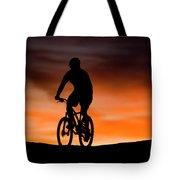 Mountain Biker At Sunset, Moab, Utah Tote Bag
