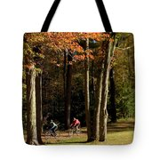 Mountain Bikers Ride In New Gloucester Tote Bag