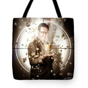 Movie Man Holding Cinema Popcorn Bucket At Film Tote Bag