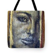 Mysterious Girl Face Portrait - Painting On The Wood Tote Bag