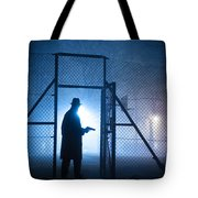 Mysterious Man With Pistol Ballpark Night Fog Tote Bag