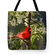 Red Cardinal In Flowers Tote Bag