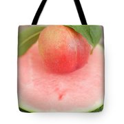 Nectarine With Leaves On Slice Of Watermelon Tote Bag