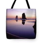 Needles Silhouetted Cannon Beach Oregon Tote Bag