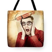Nerd Business Man Shouting Out In Fear Of A Bomb Tote Bag