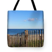 New England Beach Past A Fence Tote Bag