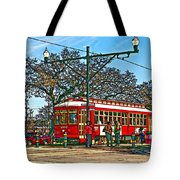 New Orleans Streetcar Painted Tote Bag