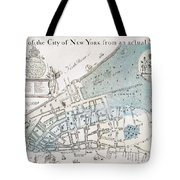 New York City Map, 1728 Tote Bag