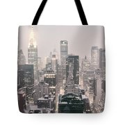 New York City - Snow Covered Skyline Tote Bag