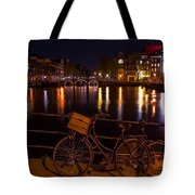Night Lights On The Amsterdam Canals. Holland Tote Bag