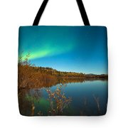 Northern Lights And Fall Colors At Calm Lake Tote Bag