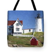 Nubble Lighthouse Maine Painterly Effect Tote Bag