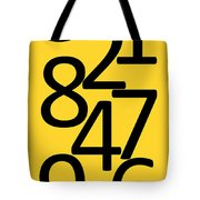 Numbers In Black And Yellow Tote Bag