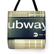 Nyc Subway Sign Tote Bag