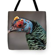Ocellated Turkey Portrait Tote Bag