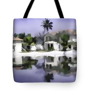Oil Painting - Cottages And Lagoon Water Tote Bag