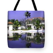 Oil Painting - Cottages And Lagoon Water In Alleppey Tote Bag