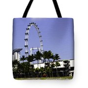 Oil Painting - Preparation Of Formula One Race With Singapore Flyer And Marina Bay Sands Tote Bag