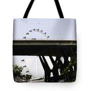 Oil Painting - Span Of The Benjamin Sheares Bridge With Its Pillars In Singapor Tote Bag