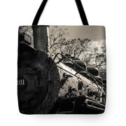 Old Black Locomotive Engine Details Tote Bag