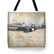 Old Crow P-51 Mustang - Map Background Tote Bag