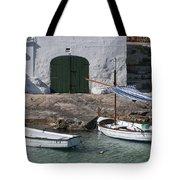 Typical Mediterranean Fishermen Boat And House In Minorca Island - Old Fishermen Villa Tote Bag