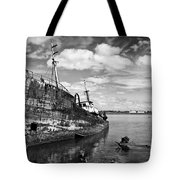 Old Fishing Ship Wreck Tote Bag