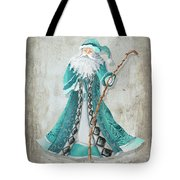 Old World Style Turquoise Aqua Teal Santa Claus Christmas Art By Megan Duncanson Tote Bag