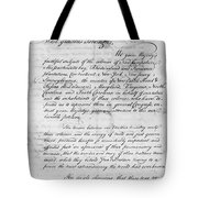 Olive Branch Petition, 1775 Tote Bag