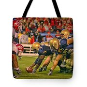 On The Goal Line - Notre Dame Vs Utah Tote Bag
