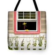 Open Window With Yellow Flower In Vase Tote Bag