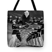 Over The Marine Corps Silent Drill Platoon Tote Bag
