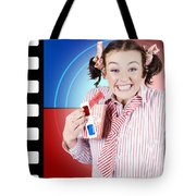 Overjoyed Nerd Woman At 3d Movie Premier Tote Bag