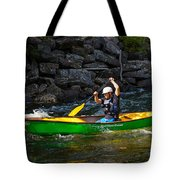 Paddler In A Whitewater Canoe Tote Bag