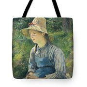 Peasant Girl With A Straw Hat Tote Bag