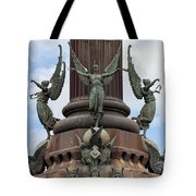 Pedestal Of Columbus Monument In Barcelona Tote Bag