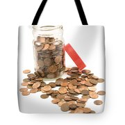 Pennies And Jar On White Background Tote Bag