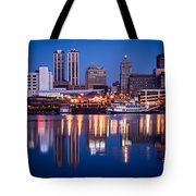 Peoria Illinois Skyline At Night Tote Bag