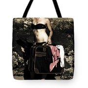 Person On A Vintage Vacation Tote Bag