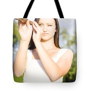 Person With Monocular Tote Bag