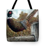 Pheasant On Fence Tote Bag