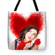 Photo Of Romantic Woman Holding Heart Shape Candy Tote Bag