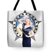 Pin-up Sailor Girl On Boat. Holiday Abroad Tote Bag