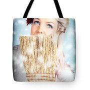 Pin-up Woman Cleaning Up In Cold Blue Winter Snow Tote Bag