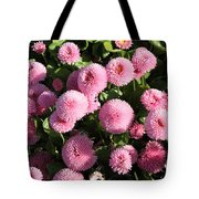 Pink Button Pom Flowers Tote Bag