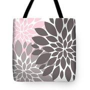 Pink Gray Peony Flowers Tote Bag