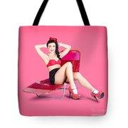 Pink Pin-up Model On Summer Vacation Tote Bag