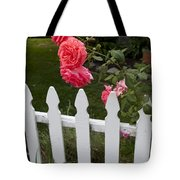 Pink Roses White Picket Fence Tote Bag